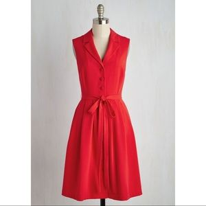 ModCloth Key To Classic Shirt Dress in Red